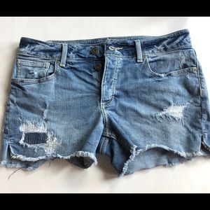 Maurices Distressed Jean Denim Button Fly Shorts